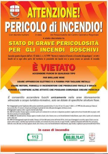 Stato di grave pericolosità per incendi boschivi in Liguria